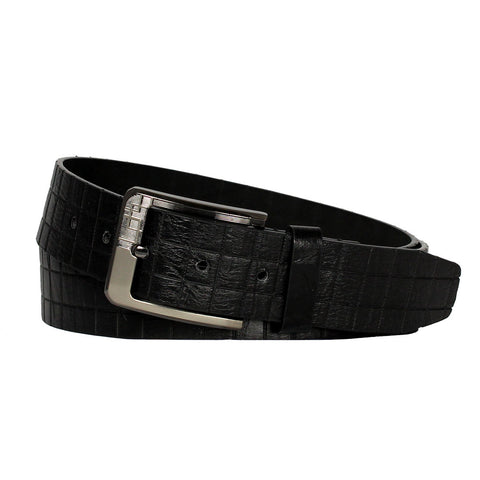 Men's Double Stitch  Black Leather Belt w/Square Buckle Frame - BW1021