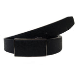 Men's Magnetic Frame Black Matte Leather Belt - G109 - Black