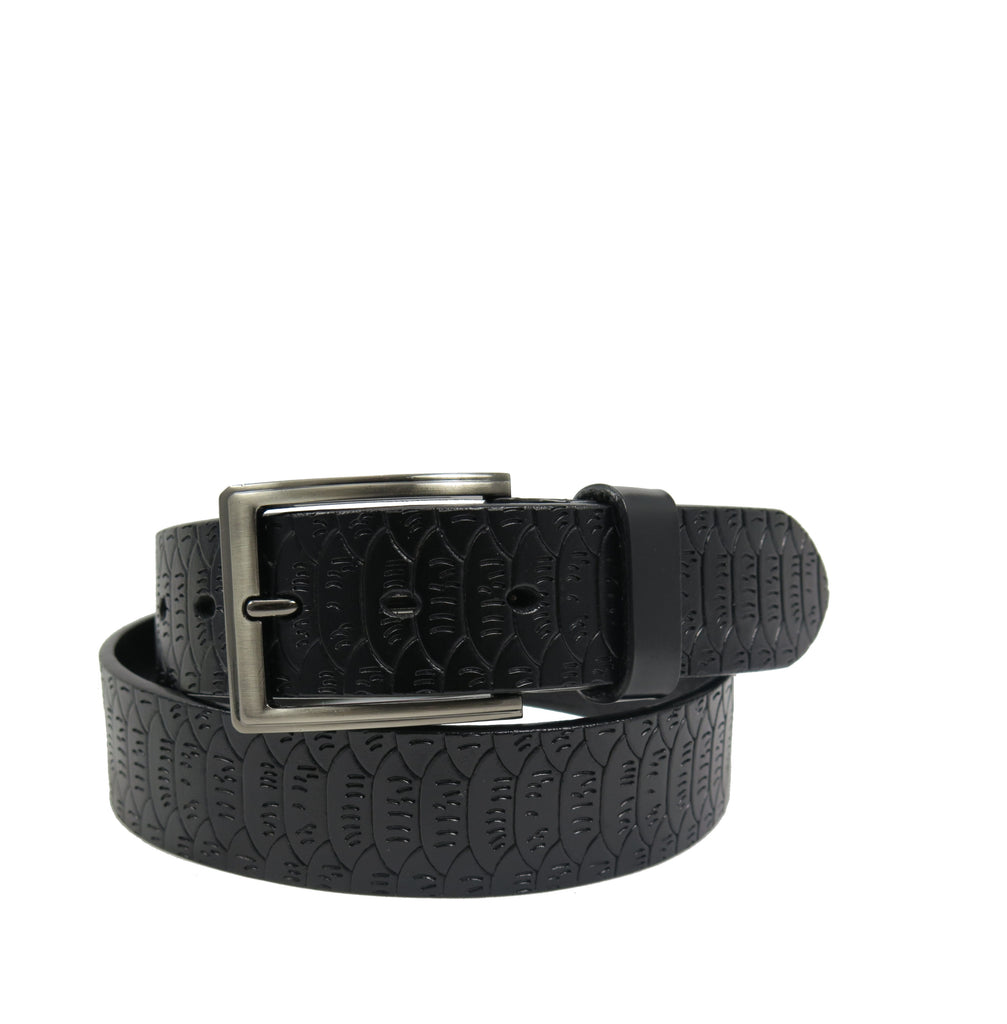 Men's Pattern Black Leather Belt -  GL402 - Black