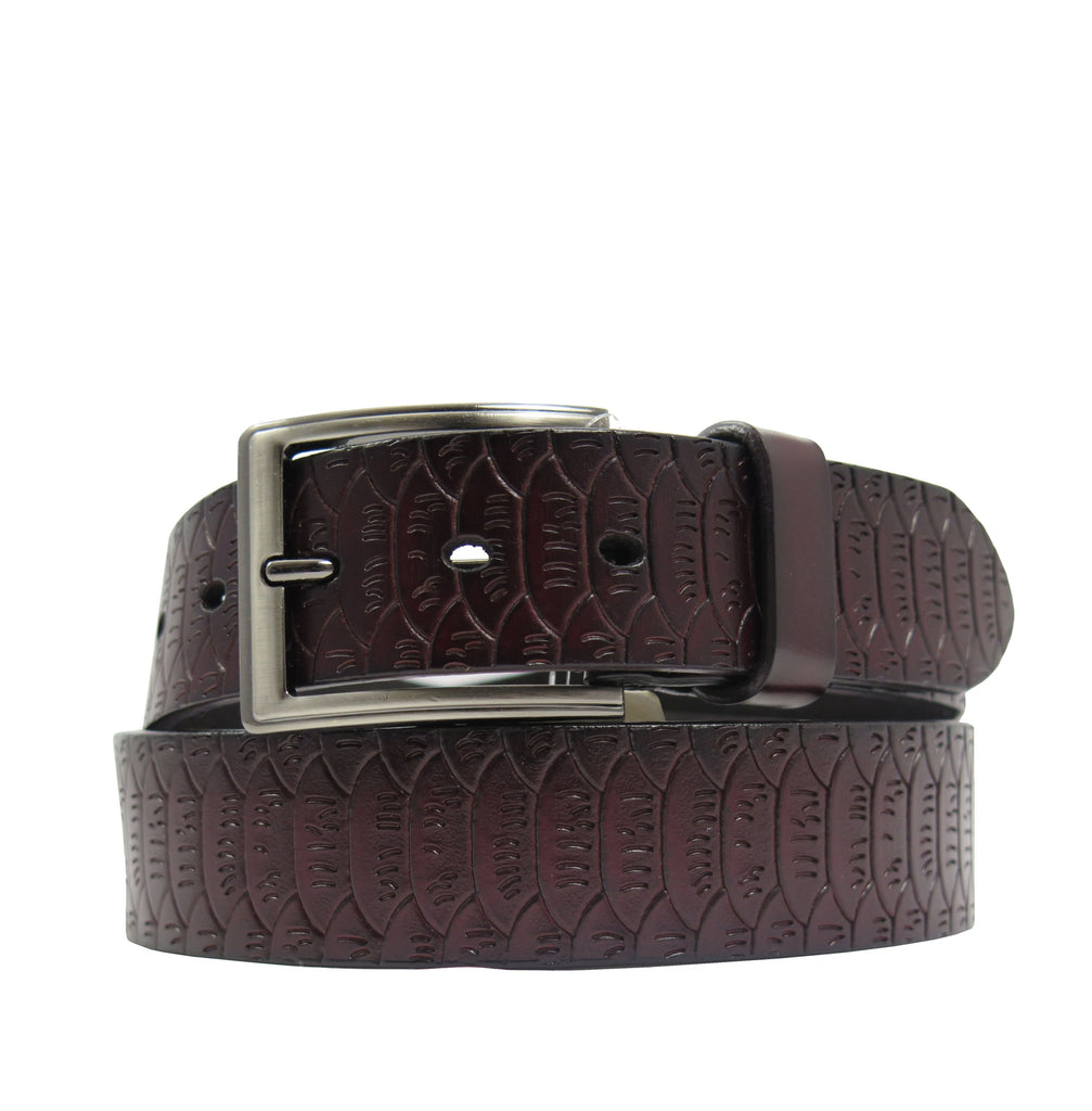 Men's Pattern Black Leather Belt -  GL402 - Brown
