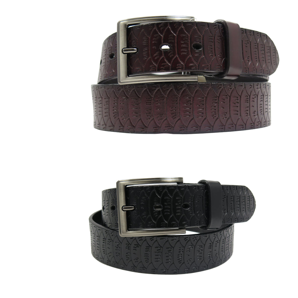 Men's Pattern Black Leather Belt -  GL402