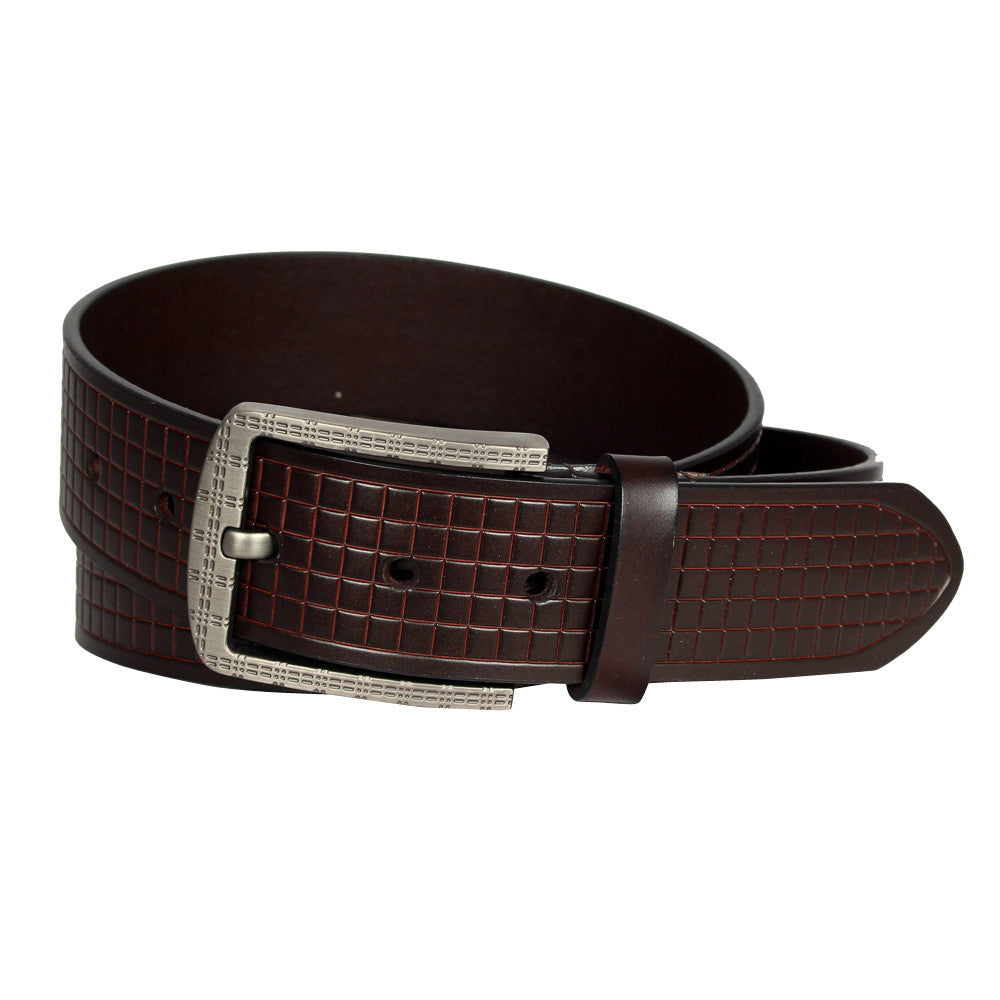 Patterned Buckle With Checkered Design Belt - GL504 - DBABESTDEALS