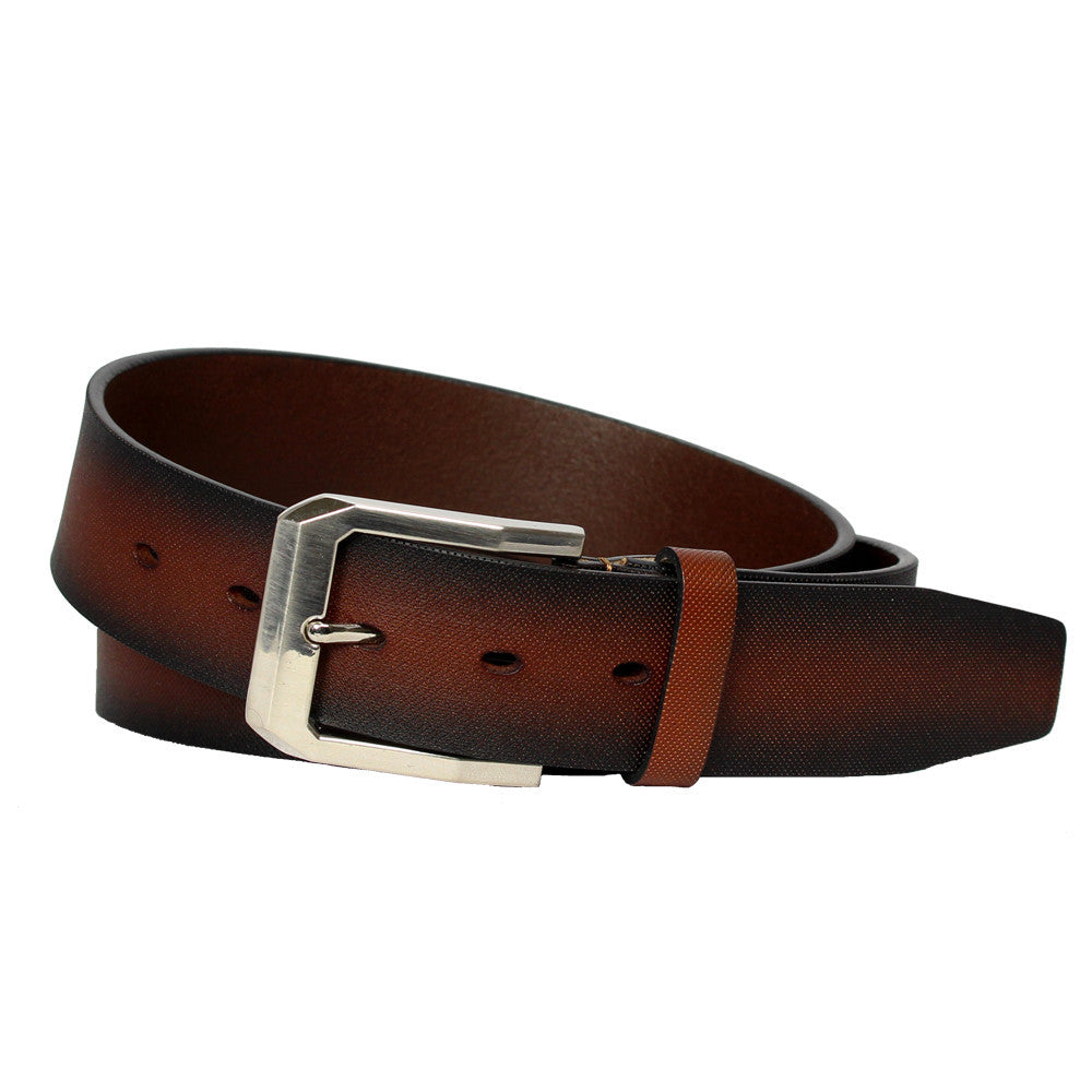 Men's Micro Patterned Leather Belt - GL550 - Brown
