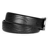 Men's Perforated Detail Leather Belt -  GL705 - Black