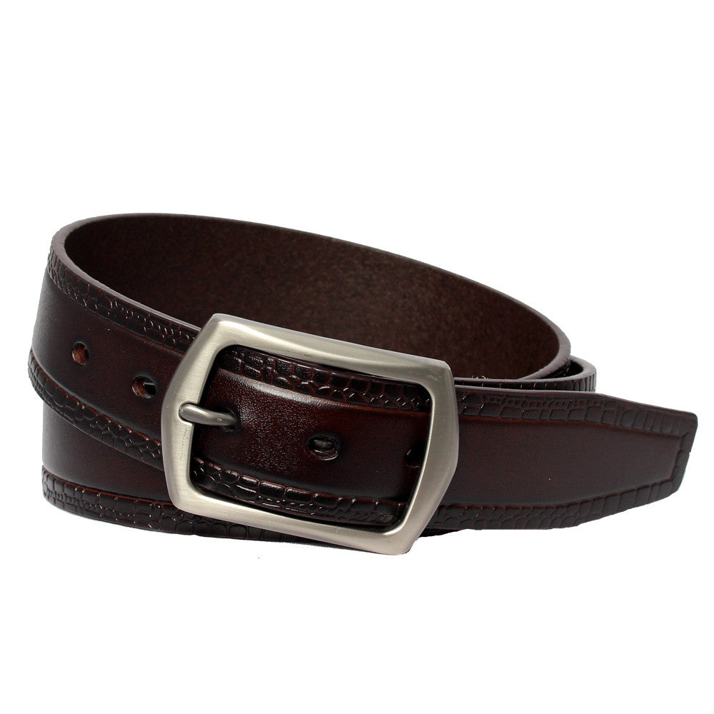 Men's Hexagonal Buckle Patterned Belt -  GL707 - Brown