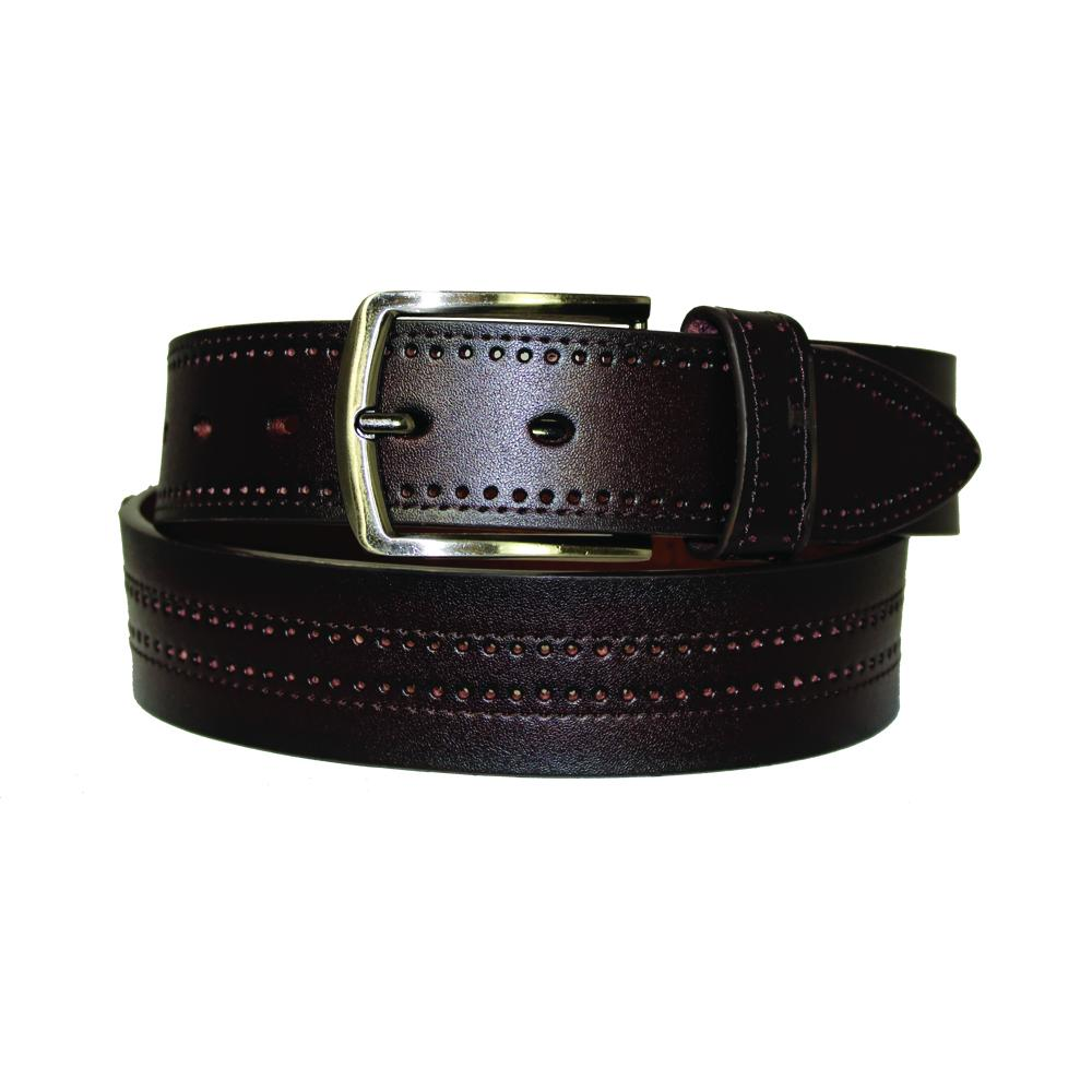 Men's Perforated Fine Leather Belt - GL709 - Brown