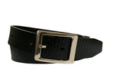 Men's Pattern Black Leather Belt -  GL810