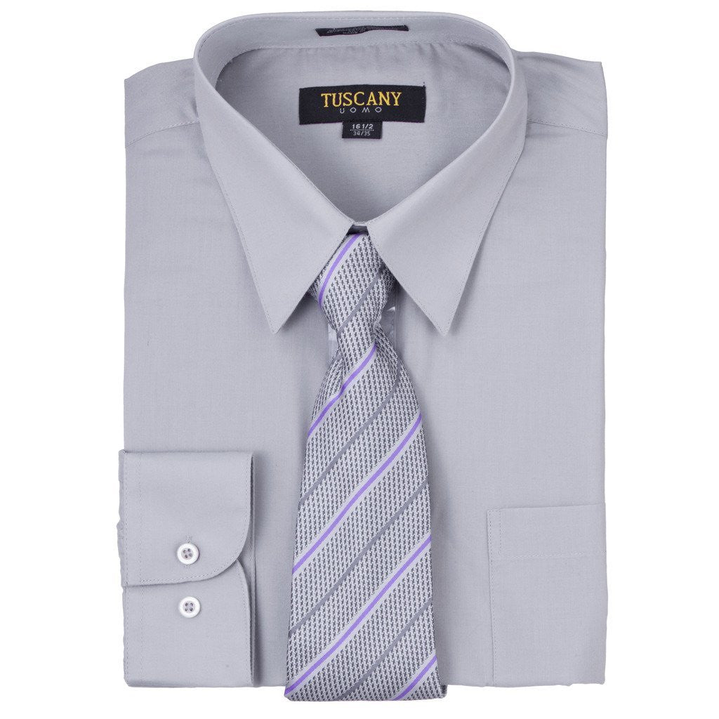 Men's Dress Shirt With Mystery Tie Set - GREY - TC102 - DBABESTDEALS