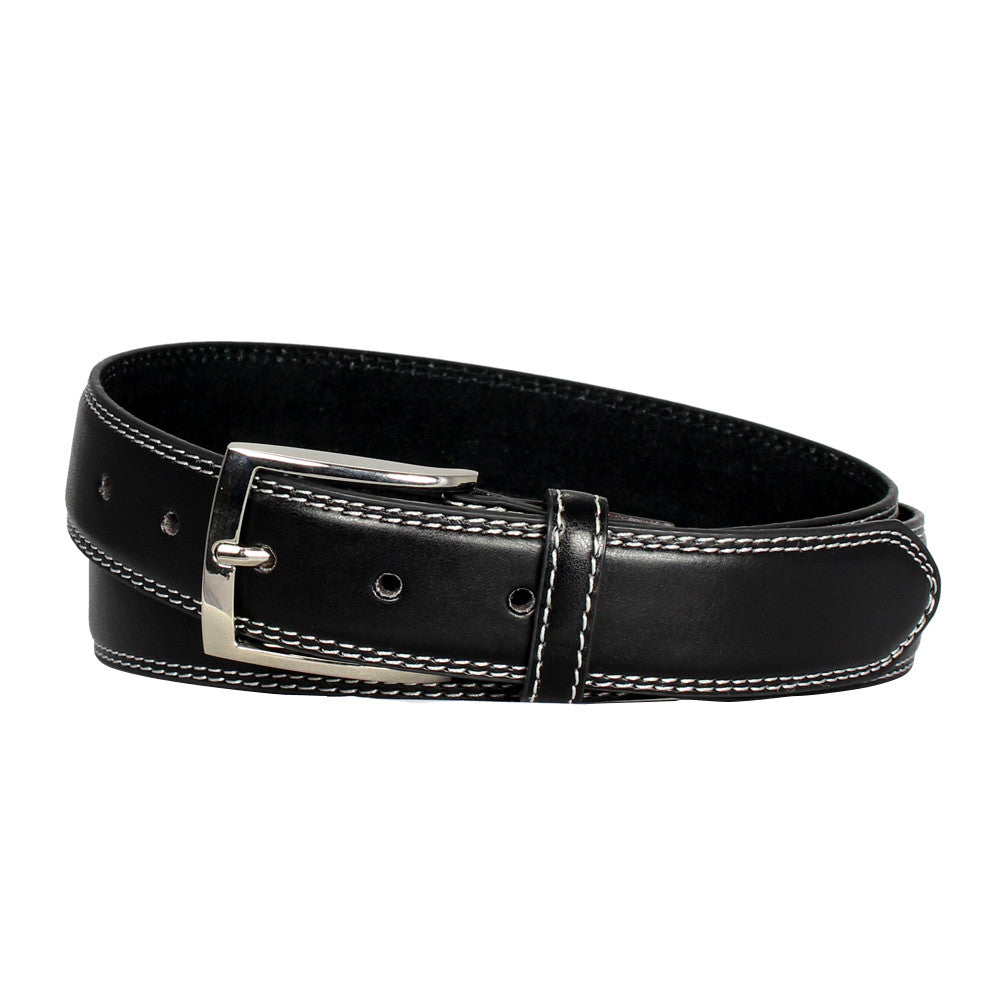 Men's Double-Stitched Leather Office Belt - Black