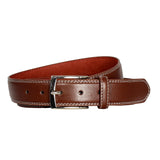 Men's Double-Stitched Leather Office Belt - Brown