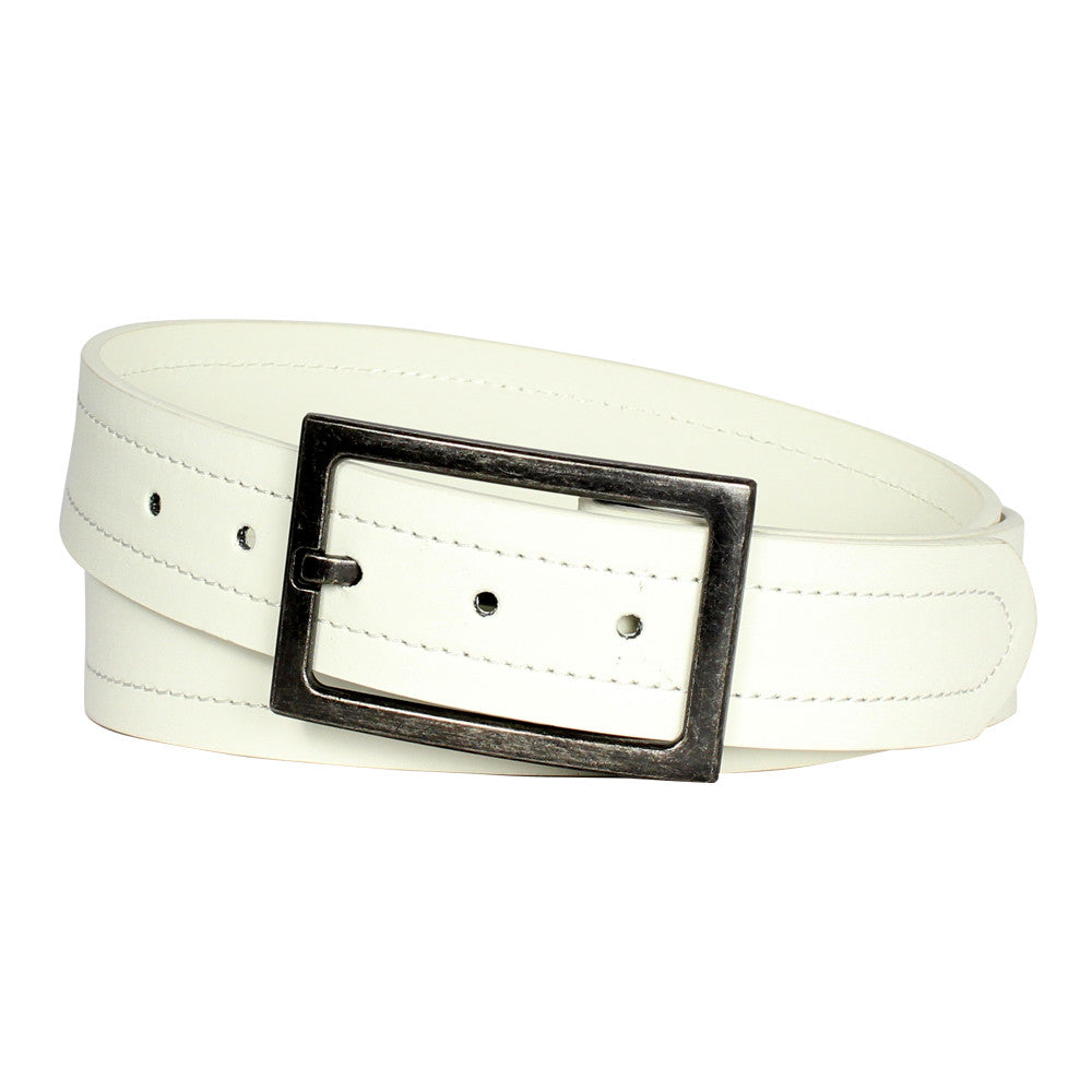 Men's Antiqued Frame Classic Leather Belt - MBP1018 - White