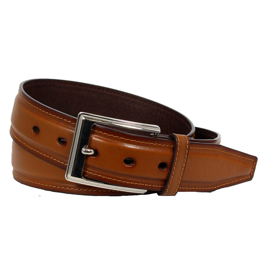 Men's Stitched Leather Casual Belt - MBP1030 - Tan