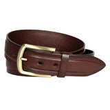 Men's Gold Buckle Brown Leather Belt - MBP1031 -  Brown