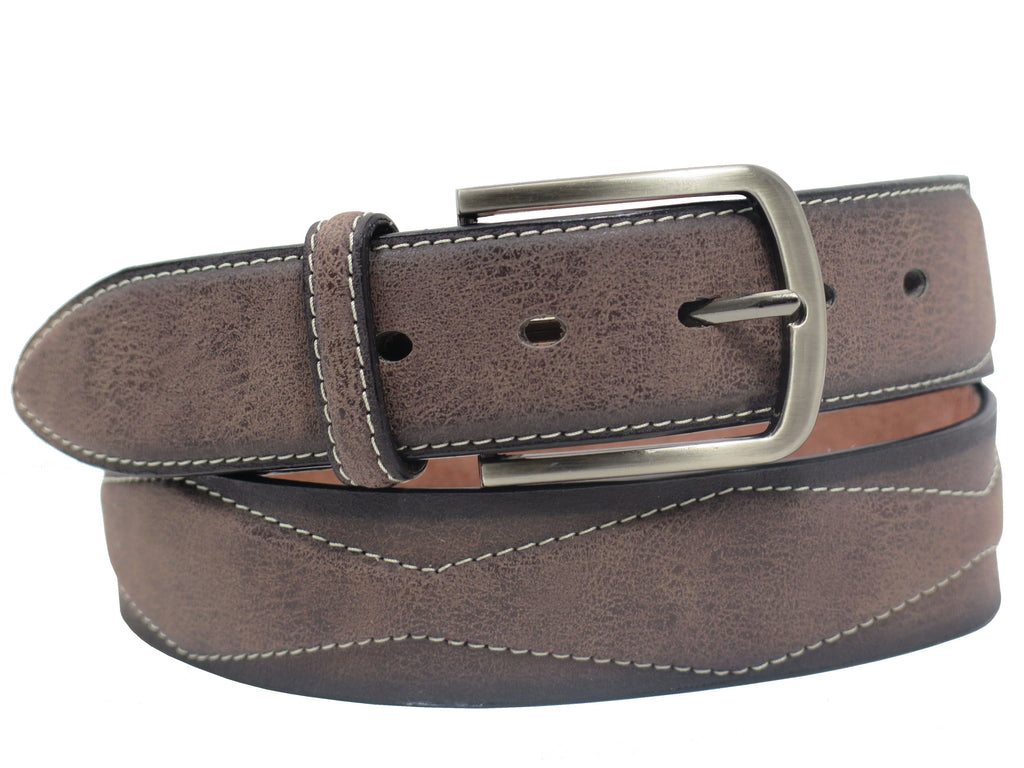 Men's Stitched Leather Casual Belt - MBP1041 - Brown