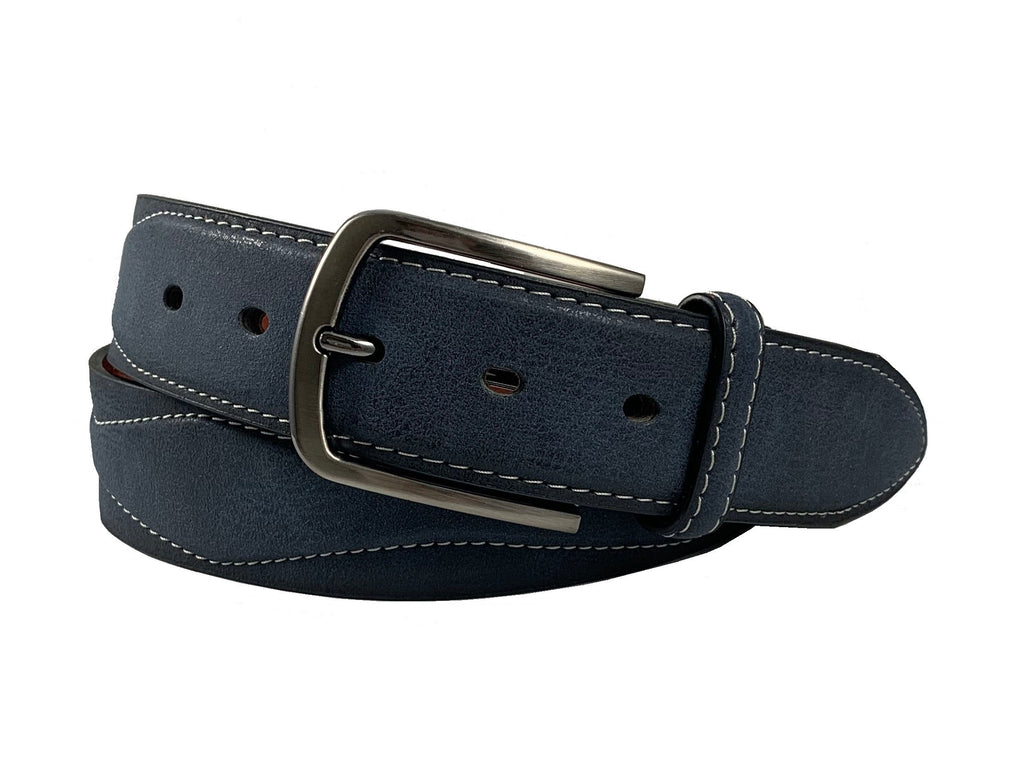 Men's Stitched Leather Casual Belt - MBP1041 - Navy