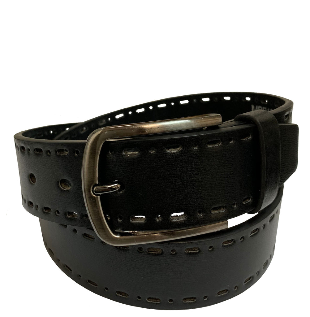 Men's Cut-Out Leather Casual Belt - MBP1043 - Black