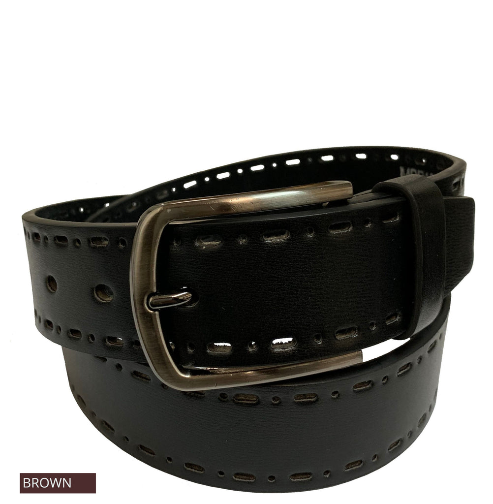 Men's Cut-Out Leather Casual Belt - MBP1043 - Brown