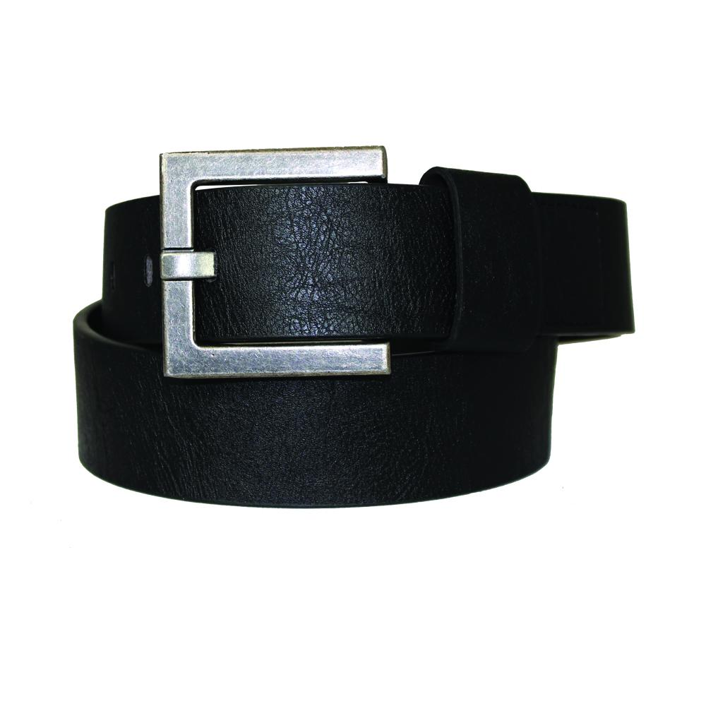 Men's Vintage Square Buckle Leather Belt - MBP1053 - Black
