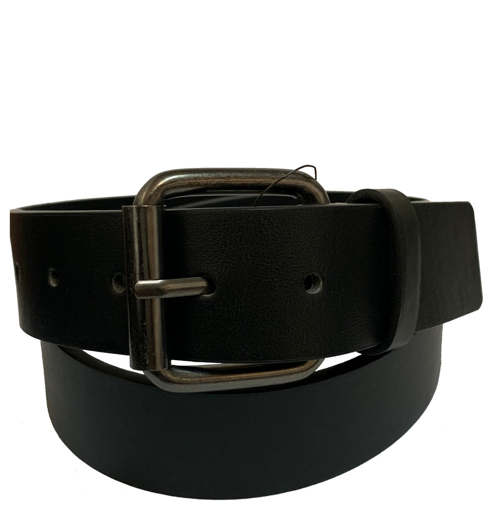Men's Vintage Square Buckle Leather Belt - MBP1074 - Black