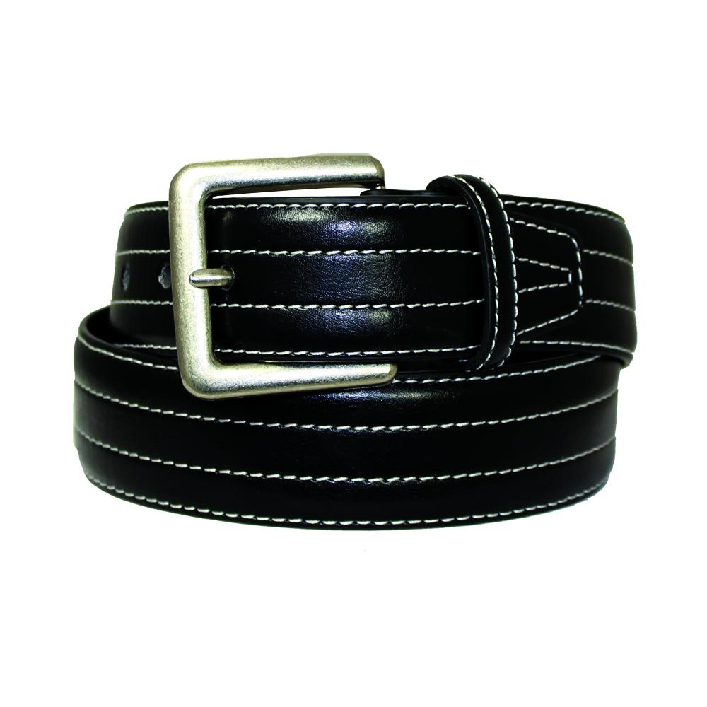 Men's Double White Stitched Leather Belt - MBP315 - Black