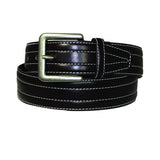 Men's Double White Stitched Leather Belt - MBP315 - Brown