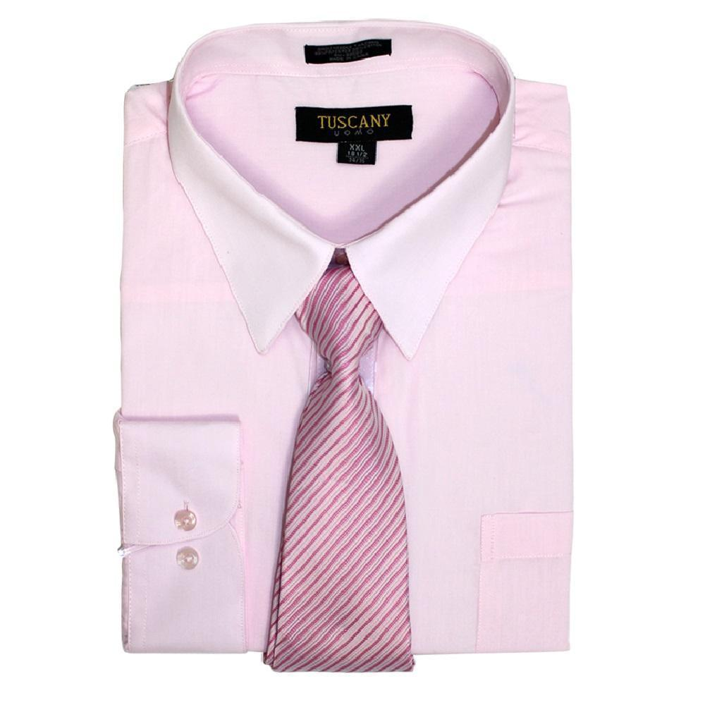 Men's 2-Piece Dress Shirt With Tie Set - Pink