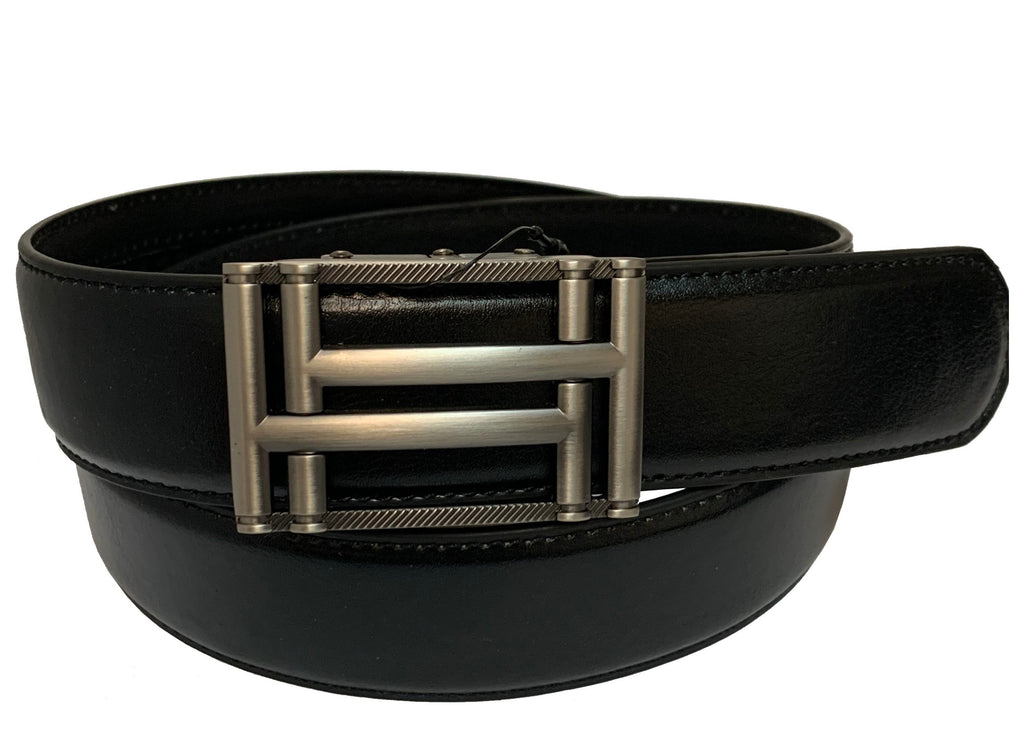 Men's Leather Ratchet Track Belt with Buckle w/Metal Frame -  TR612