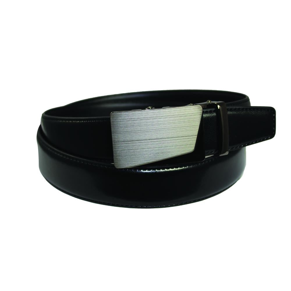 Men's Brushed Buckle Black Leather Track Belt-TR107 - Black