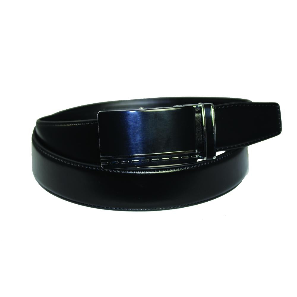 Men's Glossy Buckle Black Leather Track Belt - TR110 - DBABESTDEALS