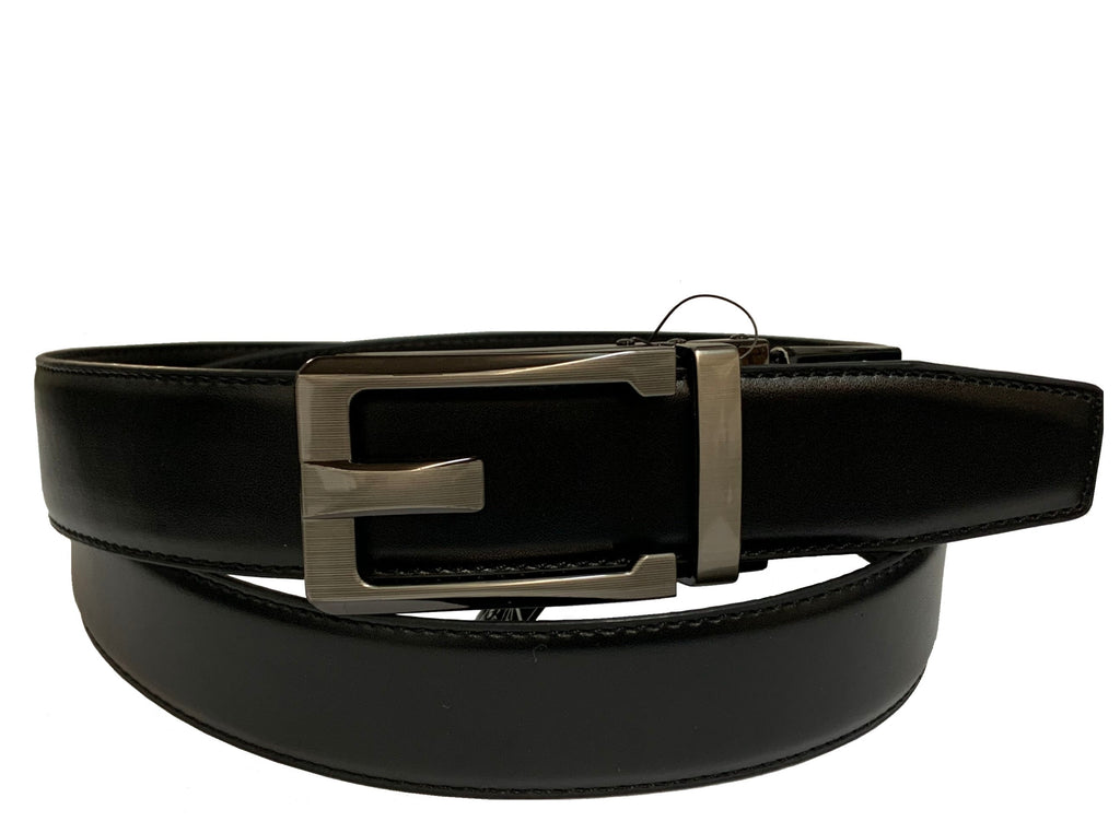 Men's Leather Ratchet Track  Belt with Buckle w/Metal Frame -  TR121