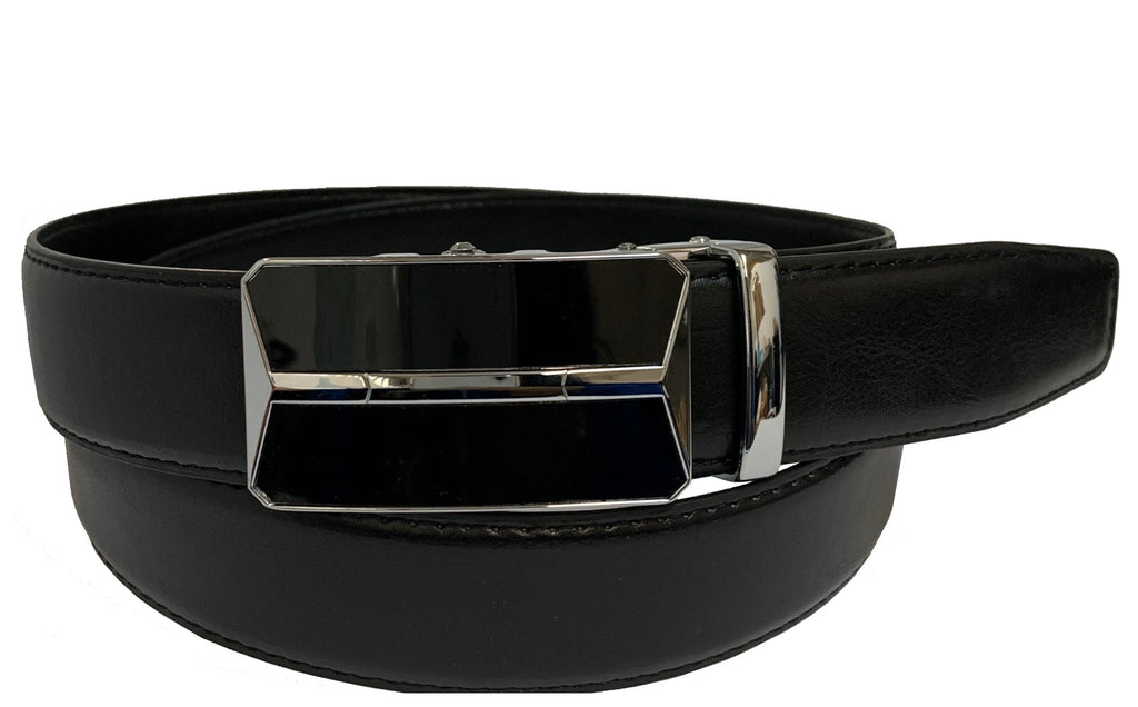 Men's Leather Ratchet Track  Belt with Buckle w/Metal Frame -  TR200