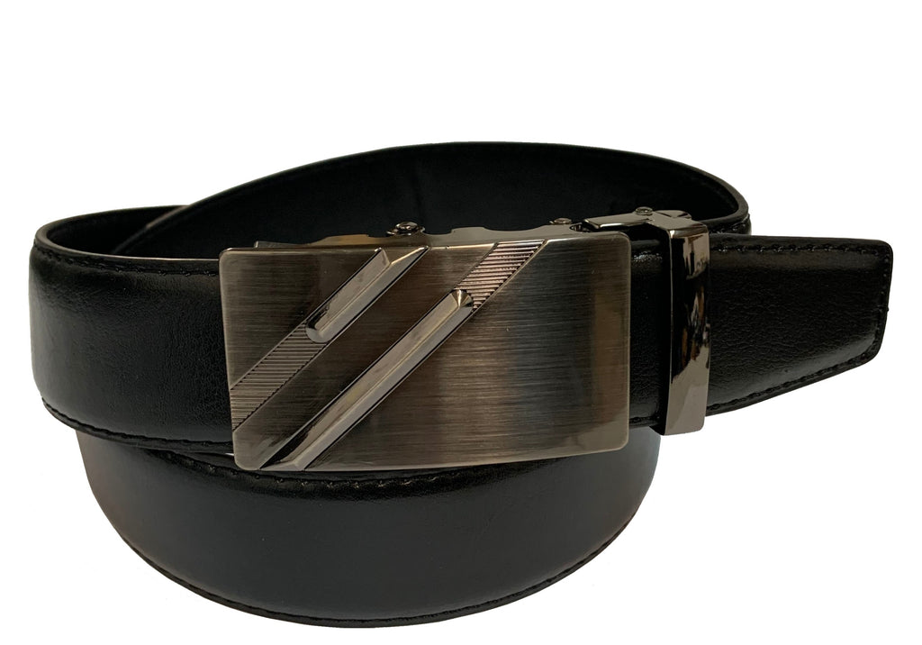Men's Leather Ratchet Track  Belt with Buckle w/Metal Frame -  TR201