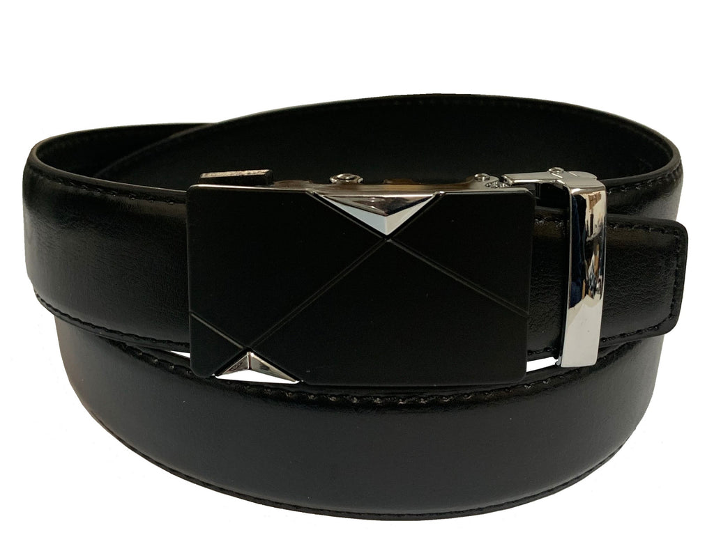 Men's Leather Ratchet Track  Belt with Buckle w/Metal Frame -  TR202