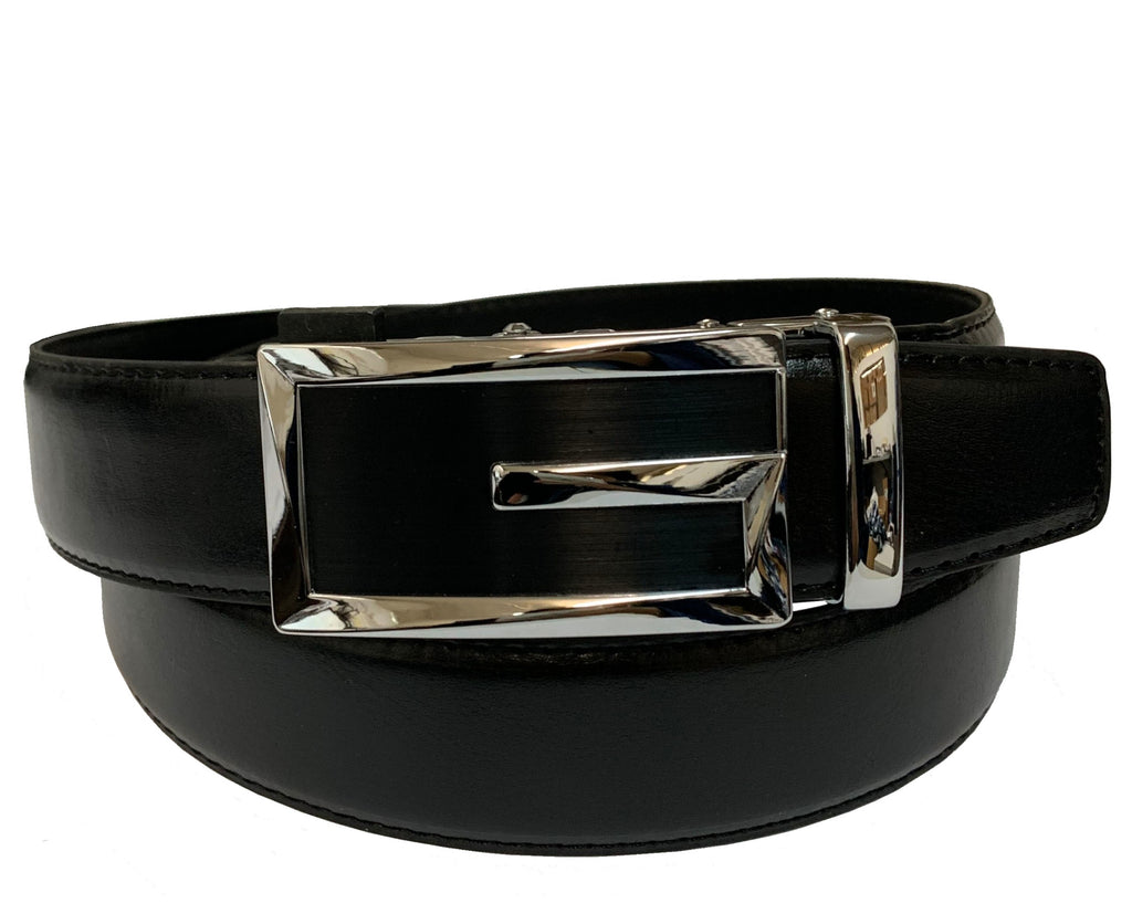 Men's Leather Ratchet Track  Belt with Buckle w/Metal Frame -  TR203