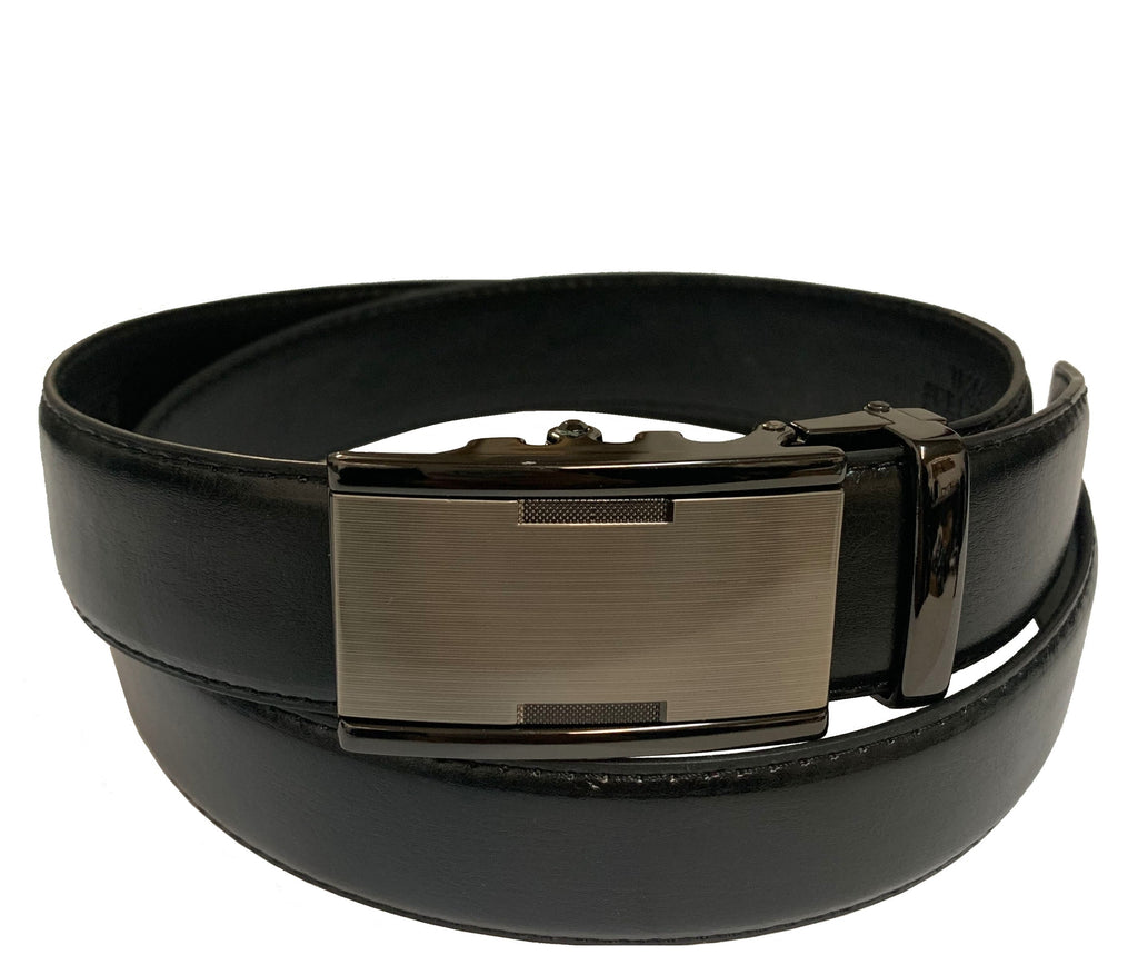 Men's Leather Ratchet Track Belt with Buckle w/Metal Frame - TR204
