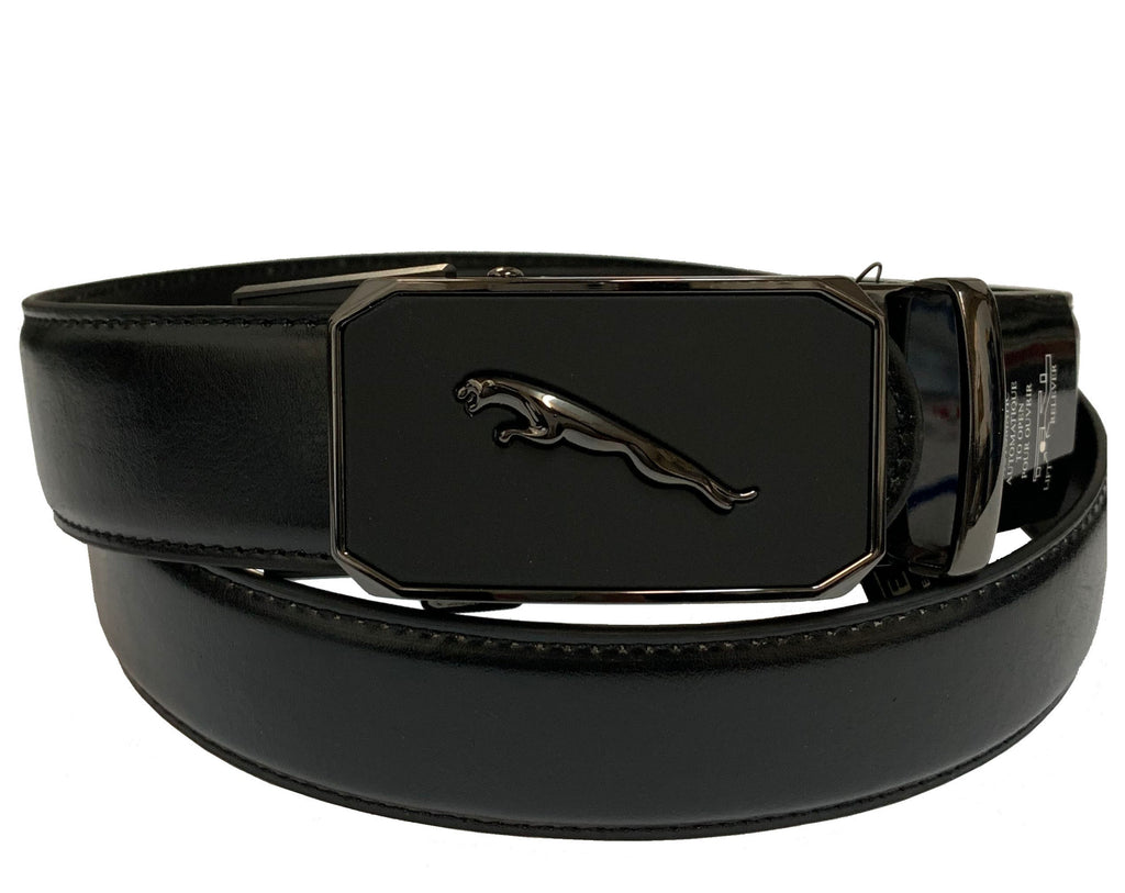 Men's Leather Ratchet Track  Belt with Buckle w/Metal Frame -  TR603
