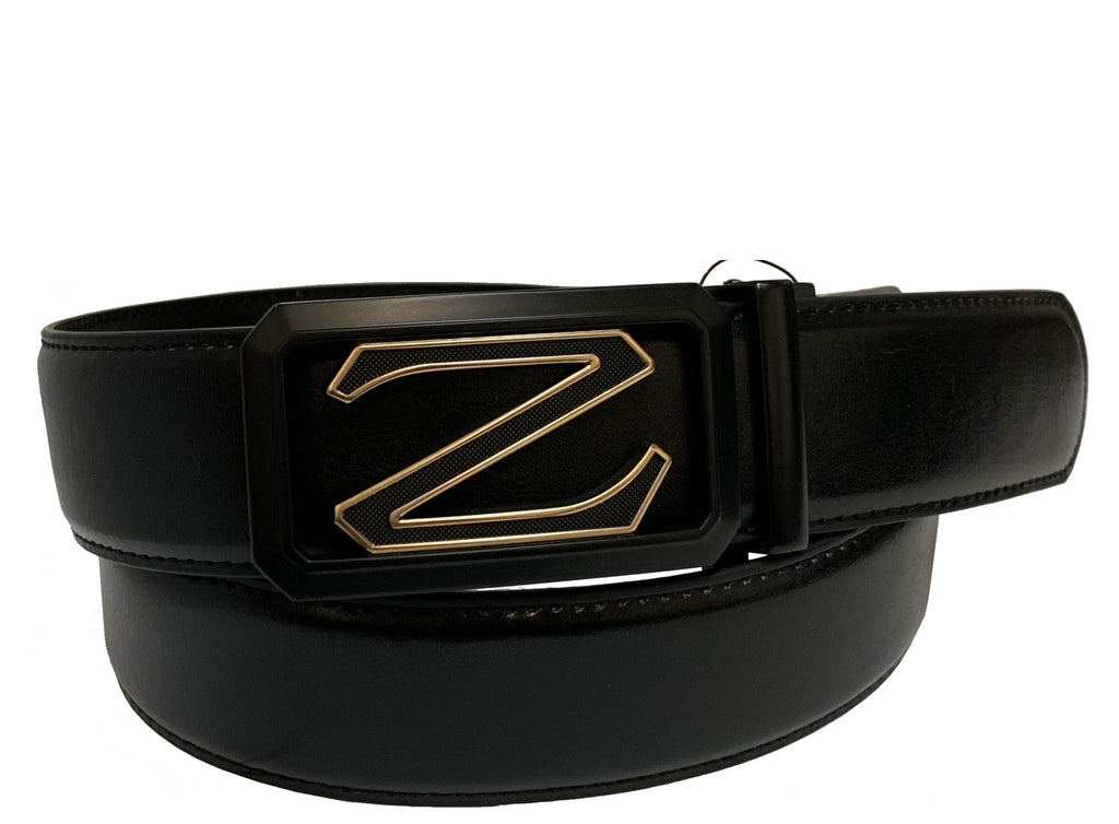 Men's Leather Ratchet Track Belt with Buckle w/Metal Gold finish Frame -  TR614