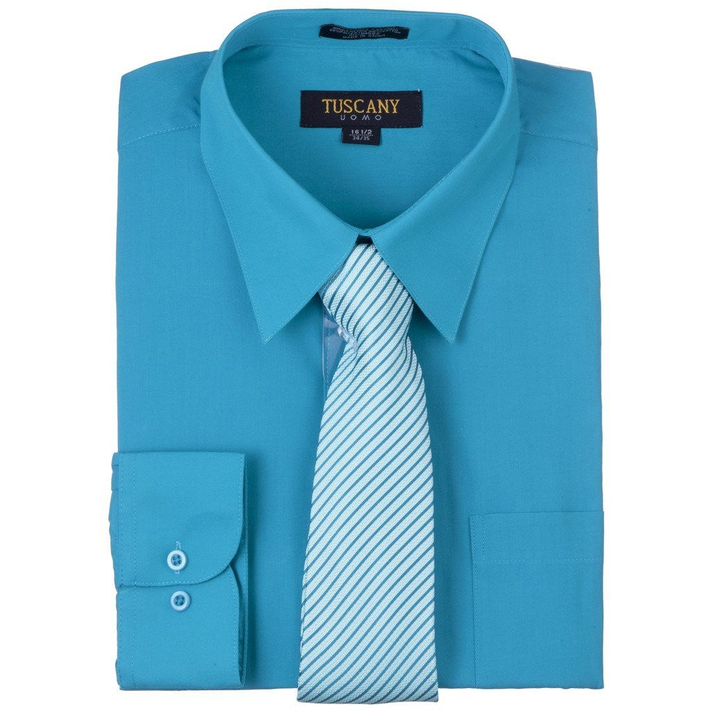 Men's 2-Piece Dress Shirt With Tie Set - Turquoise