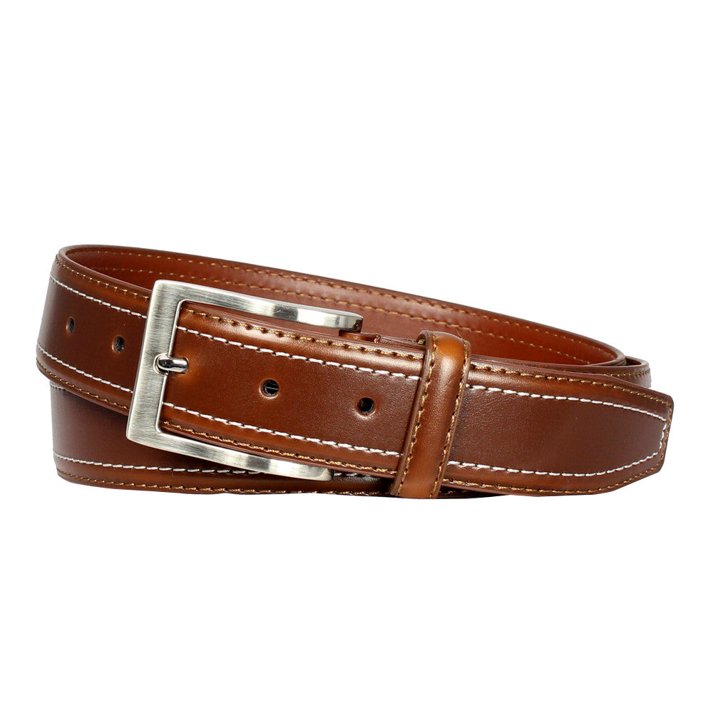 Men's Double-Stitched Leather Dress Belt - UB3506 - Brown