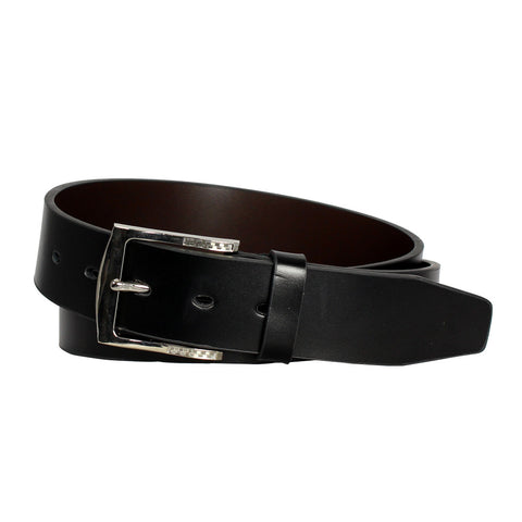 Men's Glossy Buckle Black Leather Track Belt - TR110