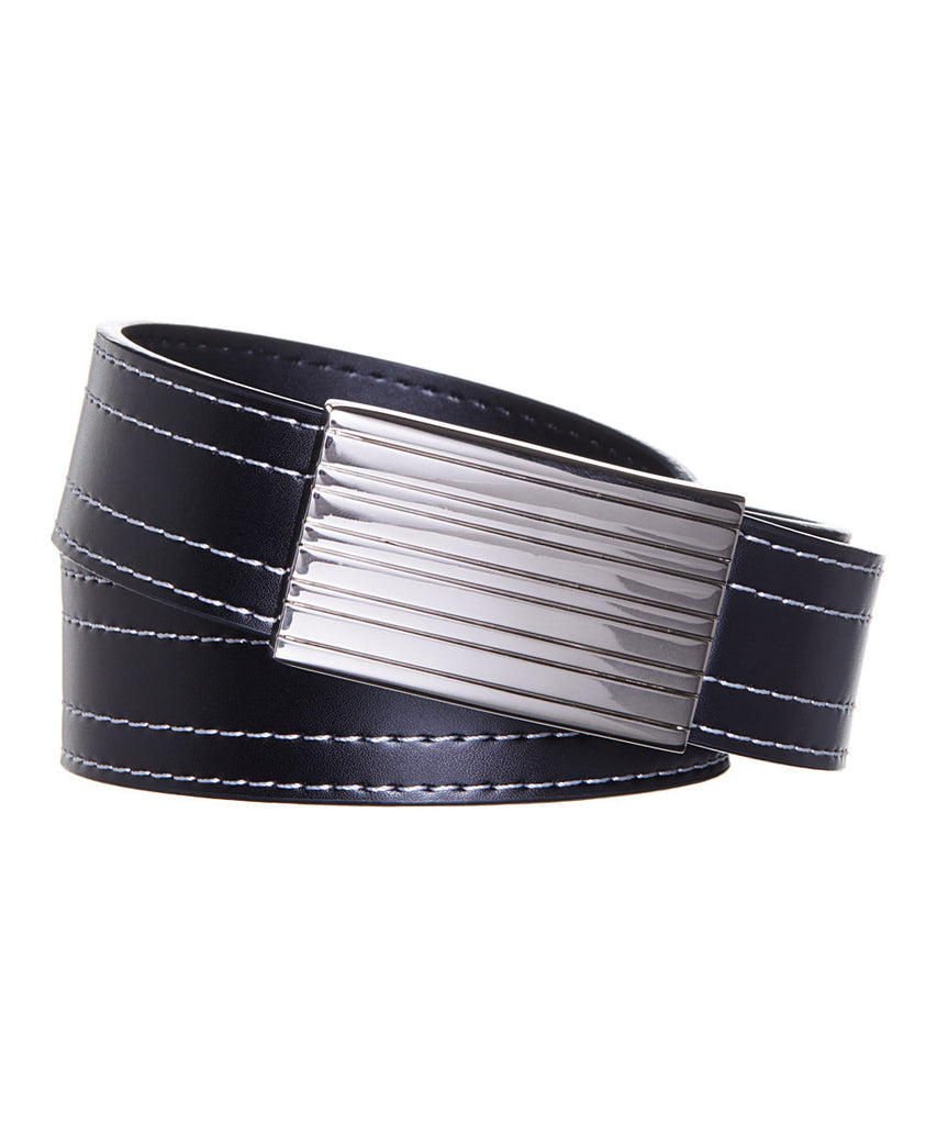 Men's Double Stitched Magnetic Frame Leather Belt - UB921 - DBABESTDEALS