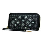 Black Diamond Studded Leather Zip-Up Clutch - WA109 - DBABESTDEALS