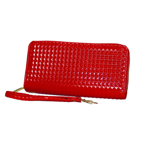 'Fleur-de-Lis' Studded Zip-Up Clutch - WASTD110
