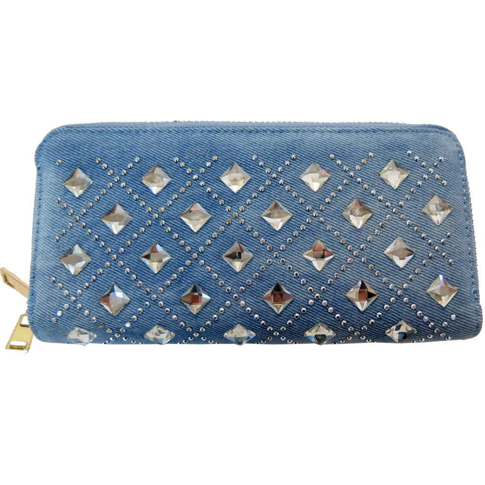 Crystal Studded Cross Patterned Clutch - WADST103 - DBABESTDEALS