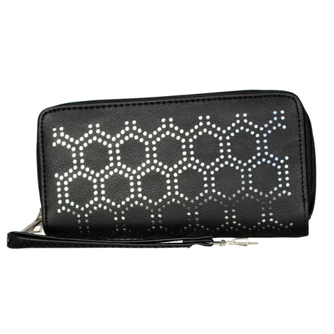 Black Diamond Studded Leather Zip-Up Clutch - WA109