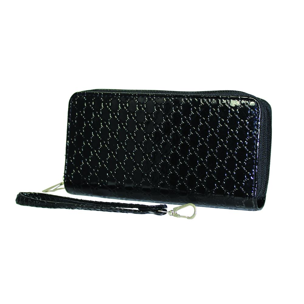 Glossy Black Leather Chain Textured Clutch - WAMK301 - DBABESTDEALS