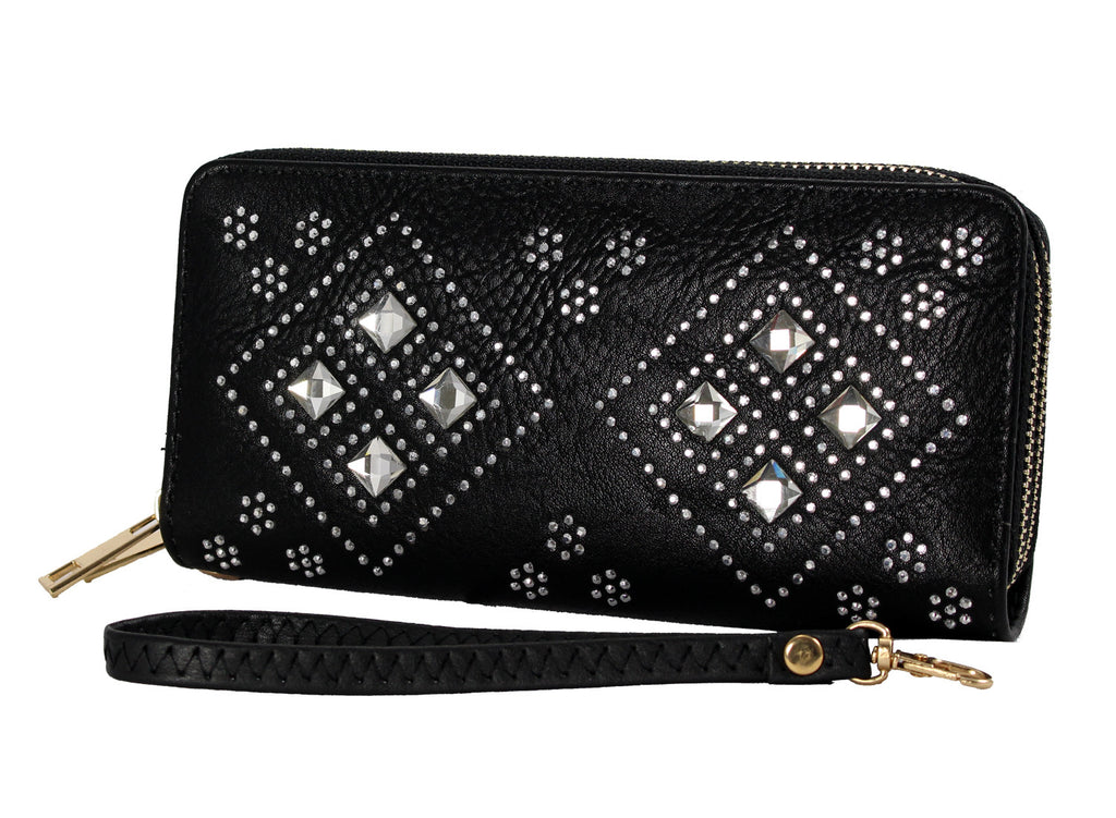 Crystal Studded Diamond Patterned Clutch - WAST105 - DBABESTDEALS