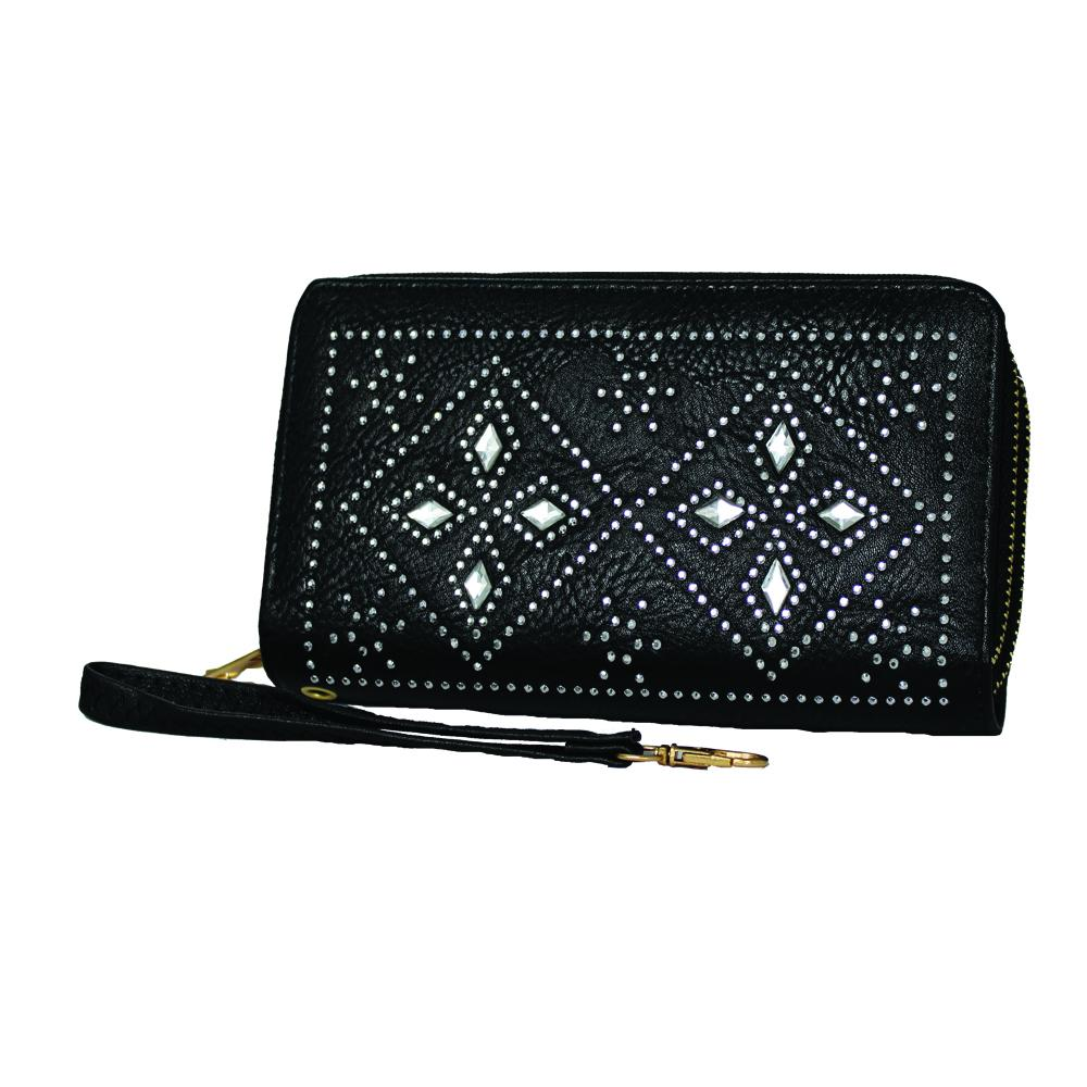'Fleur-de-Lis' Studded Zip-Up Clutch - WASTD110 - DBABESTDEALS