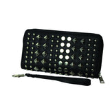 Geometric Studded Zip-Up Leather Clutch - WASTD119 - DBABESTDEALS