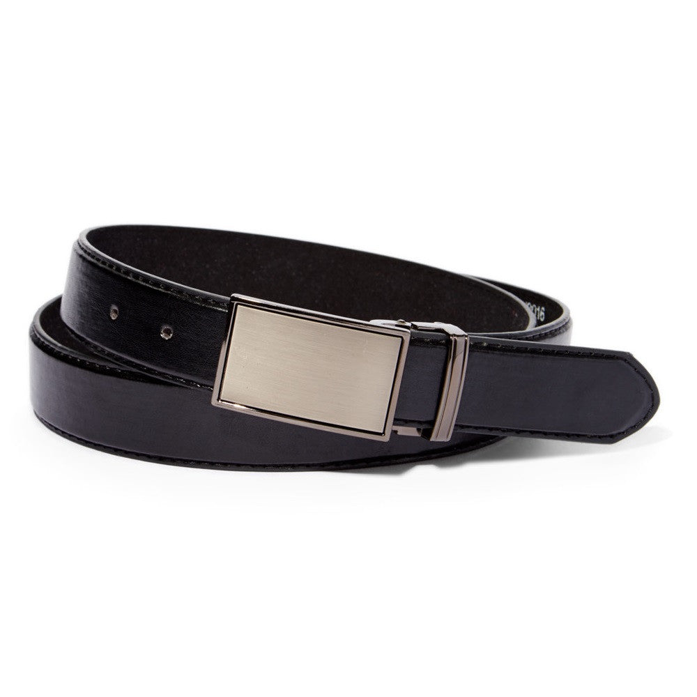 Mens Black Leather Belt With Silver Tone Buckle